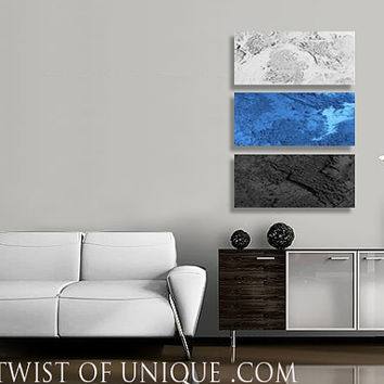 Industrial minimalist Wall art / 3 square CUSTOM ( 20 Inch x 15Inch) / AcryliCrete abstract painting / Blue, white, Black