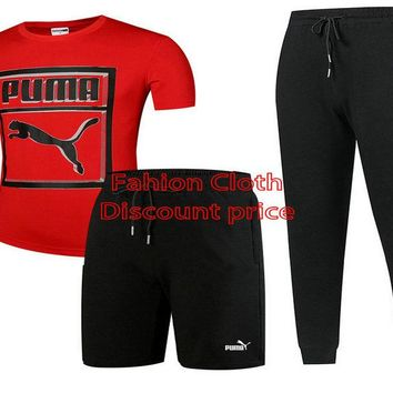 Puma Three-Piece Suit 2018 Spring Clothing L-4XL 17188 Red Black