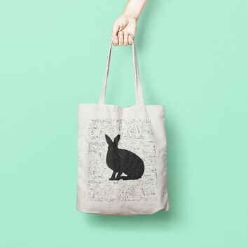 Bunny Rabbit Printed Tote Bag, Market Bag, Cotton Tote Bag, Large Canvas Tote, Funny Grocery Bag, Designer Tote Bag canvas