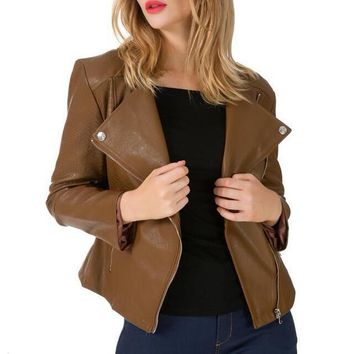 Plus Size Snake Skin Zipper Rider Leather Bomber Jacket