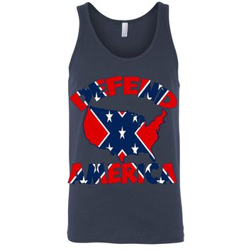 Men's Confederate Rebel Flag Tank Top Defend America