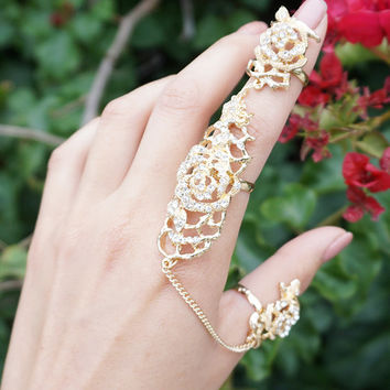 Gold Rose Connect Ring, Chain Linked Ring, Crystal Connector Ring, Double Finger Ring, Full Finger Ring, Linked Chain Ring, Two Finger Ring