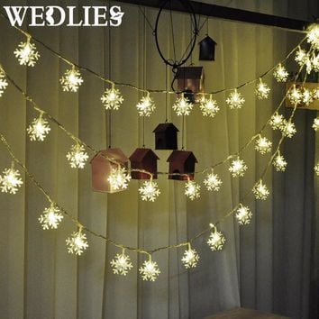 Lights Christmas Tree Snowflake Bulbs 2.5m 20led 4m 40led Fairy Light Xmas Party Wedding Garden Garland Christmas Decorations
