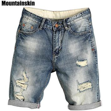 Mountainskin 2017 Summer Men's Jogger Ripped Denim Shorts Hole Pop Streetwear Male Jeans Thin Fashion Brand Male Jeans SA169