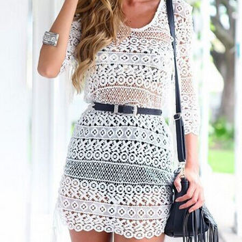 Crochet Cutout Long Sleeve Belted Fringed Mini Bodycon Dress