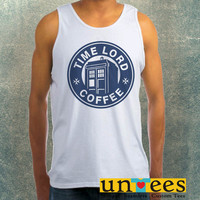 Tardis Time Lord Coffee Logo Clothing Tank Top For Mens