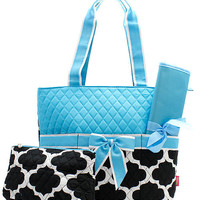 Personalized Black and Aqua Geometric Diaper Bag with Changing Pad Zig Zag Diaper Tote Chevron Quilted Diaper Bag New Born Baby