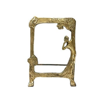 Brass Gazing Mirror Frame Looking Glass Art Nouveau Female Figure Flowers Vintage Lady Tabletop Easel Stand Feminine Romantic Aged Patina