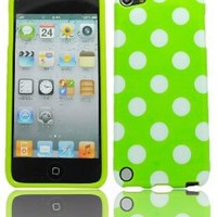 BasTexWireless Bastex Green TPU Case with White Polka Dots for Apple iPod Touch 5, 5th Generation [Compatible with iPod Touch 6]
