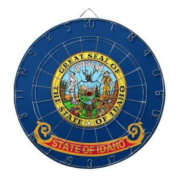 Dartboard with Flag of Idaho, USA