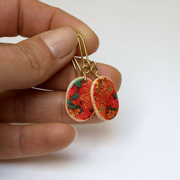 Red Green Yellow Oval Earrings, Small Floral Dangle Earring