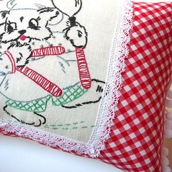 Chenille Pillow - Bistro Pillow - Dog Pillow - Cottage Chic Decor - Pom Pom Pillow - Kitchen Pillow - Retro Kitchen Decor