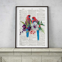 Watercolor parrots poster Bird art Animal print