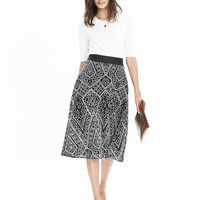 Geo Lace Midi Skirt | Banana Republic