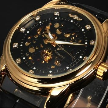 New Men Classic Transparent Steampunk Skeleton Mechanical Leather Watch