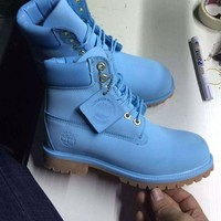 PEAPON Timberland Rhubarb Boots 10061 2018 Blue Waterproof Martin Boots