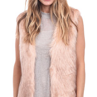 Provocative Pink Faux Fur Vest