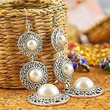 Women Lady Ethnic Style 3 Circle Tassel  Dangle Earrings
