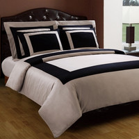 Black and Taupe Hotel 5pc Duvet Cover Set