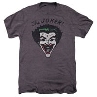 BATMAN/RETRO JOKER-S/S ADULT PREMIUM TEE-MOTH HEATHER