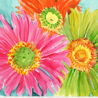 Hot Pink, Lime Green and Orange Gerbera Daisies painting on Aqua , Original Watercolor Gerber Daisy ART