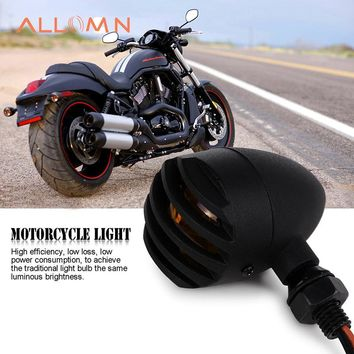 ALLOMN 12V Motorcycle Retro Black Bullet Amber Bulb Motorcycle Front Rear Turn Signal Lamp LED Indicators Light for Harley