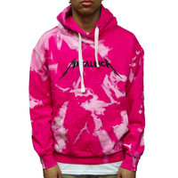 One of One Metallica Distressed Hoodie in Pink Size Large