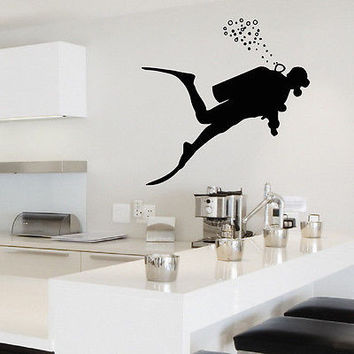 WALL DECAL VINYL STICKER GYM SPORT SCUBA DIVER DIVING SB242