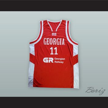 Manuchar Markoishvili 11 Georgia National Team Red Basketball Jersey