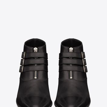 Saint Laurent Duckies 30 Triple Buckle Ankle Boot In Black Leather | ysl.com