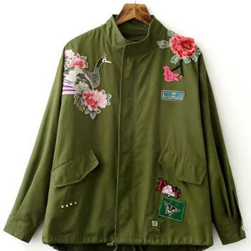 2016 Autumn/Winter Army Green Flowers Embroidery Jacket for Woman