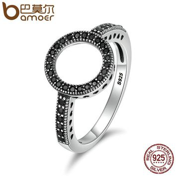 BAMOER 100% Genuine 925 Sterling Silver 2 Colors Forever Clear CZ Round Finger Rings for Women Authentic Silver Jewelry SCR112