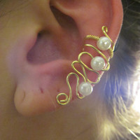 Mini Pearl Beaded Gold Wire Ear Cuff by TheHempChick on Etsy