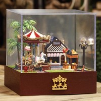 Dollhouse Miniature Playground Carousel Model DIY KIT Music Box With Light