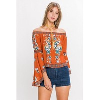 Gpysy Dreams Off Shoulder Bell Sleeve Crop Top