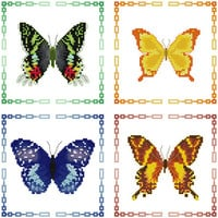 Butterflies - set of 4 Cross Stitch Patterns in PDF - INSTANT DOWNLOAD