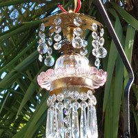 1 Venetian clear Pink Glass lily hanging brass Tulip pendant Lamp crystal prisms U-drop Art Murano tole toleware