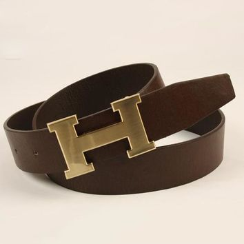 Perfect HERMES Women Men Fashion Smooth Buckle Belt Leather Belt