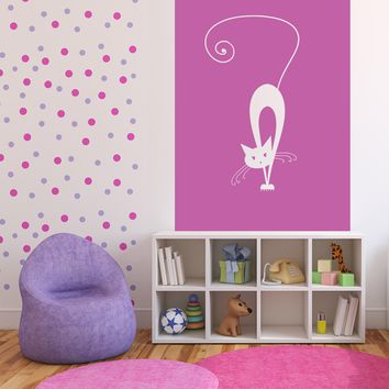 Large Vinyl Decal Wall Sticker White Cat Eyes Long Tail Silhouette on Background n992