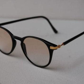 Vtg Semi Clear UV Ray Glasses Clubmaster Black Gold Bans Wayfarer Sunglasses A69