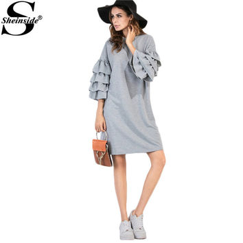 Sheinside Womens Dresses  European Style Autumn Winter Dress Tiered Ruffle Sleeve Tunic Tee Dress