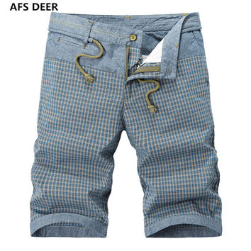 2016 Direct Selling Sashes Loose Gingham Mid Knee Length Summer New Men's Men Casual Cotton Color Short Pants Beach Male