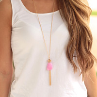 Hidden Gem Tassel Necklace