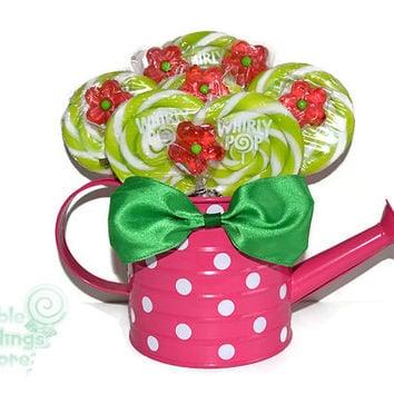 Pink and Green Watering Can Lollipop Arrangement, Candy Arrangement, Centerpiece, Candy Buffet, Lollipop, Lollipop Centerpiece, Pink