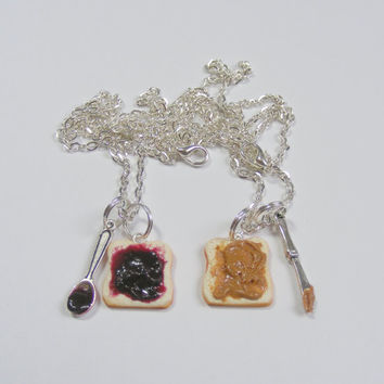 Best Friend Peanut Butter and Jelly Sandwich Miniature Food Pendants Necklaces - Miniature Food Jewelry, Handmade Jewelry Necklace, BFF