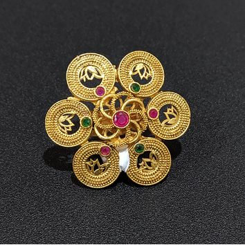 Matte gold finish lotus flower center circle adjustable finger ring