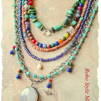 Bohemian Necklace, Multiple Strands, Mixed Gemstone Necklace, Boho Cowgirl, Festival Of Nature, BohoStyleMe, Kaye Kraus