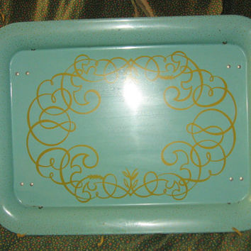 Vintage retro metal lap  breakfast tv tray   turquoise and gold