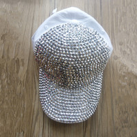 women  casquettes de baseball FULL  bling Rhinestone  Diamond  WHITE COTTON  baseball caps