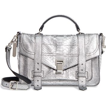 Proenza Schouler Medium PS1 Snakeskin Embossed Metallic Leather Satchel | Nordstrom